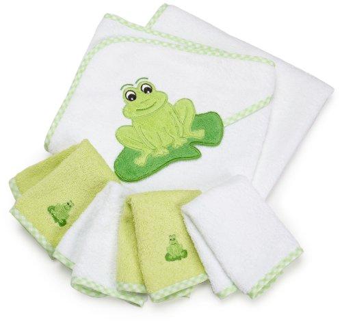 SpaSilk 100% Cotton Hooded Terry Bath Towel with 4 Washcloths, Green