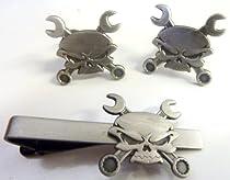 Skull Cross Wrenches Antique Nickel Car Motorcycle Mechanic TIE BAR CUFFLINKS SET
