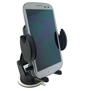 High Grade Samsung Galaxy S3 GT-i9300 Mobile Phone Flexible Windshield Dash or Vent Mount Cradle Holder (accommodates all silicone skins and carrying cases)