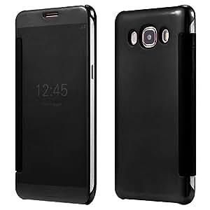 MVE(TM) Premium Galaxy A8 Case Fashion Luxury Glossy Mirror Clear View Smart Date/Time [Hyperbolic Mirror] Flip Case Cover for Samsung Galaxy A8 (BLACK)