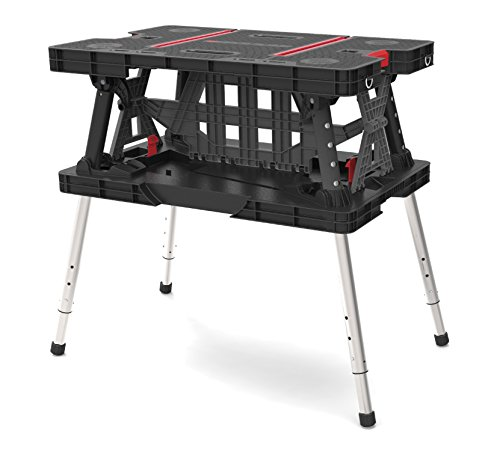 Keter 22 x 33.5 x 30.3 in. Adjustable Folding Compact Table Work Station Solution (Portable Tool Bench compare prices)