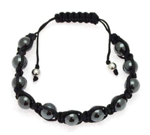 Black Cotton and Haematite 8mm Bead Bangle Type Adjustable Bracelet