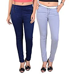 Goodgift Ice Blue & Blue Denim Lycra & Cotton Lycra Jeggings With Jeans