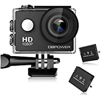 DBPOWER Waterproof 12MP 1080P HD Action Camera with 2 Batteries and Free Accessories Kit