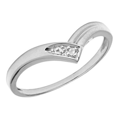 10K White Gold V-Cut Diamond Promise Ring