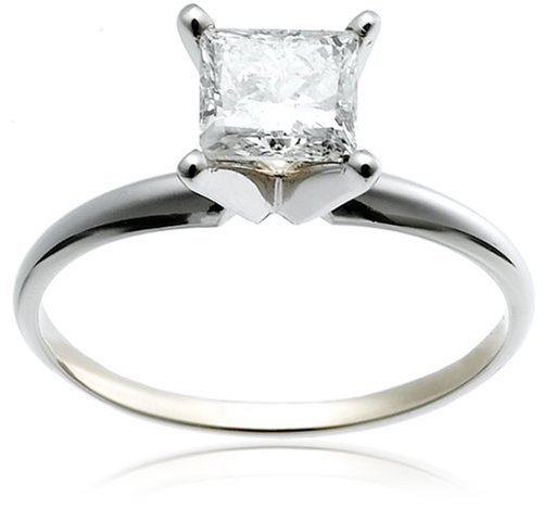 14k White Gold Princess-Cut Solitaire Engagement Ring (1 ct, I-J Color, I1-I2 Clarity), Size 8