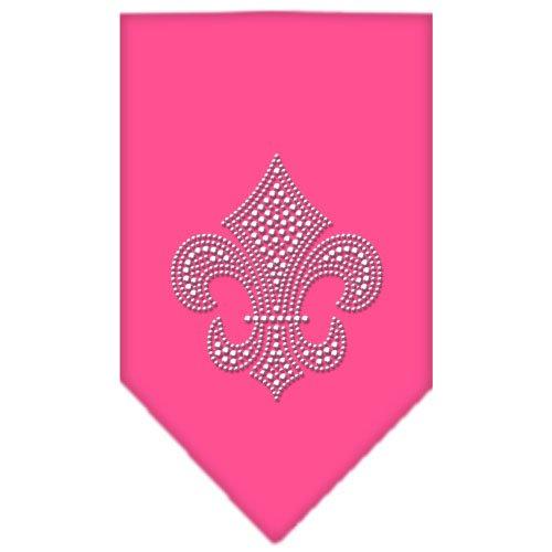Dog Supplies Fleur De Lis Rhinestone Bandana Bright Pink Small