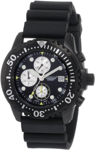 Momentum Shadow II Chrono 1M-DV88B1B - Reloj analógico de cuarzo para hombre, correa de goma color negro (cronómetro)