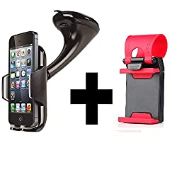 Mobilegear Best Quality Universal Mobile Holder for Car with Windshield Suction Mount - With Free Car Steering Mobile Holder