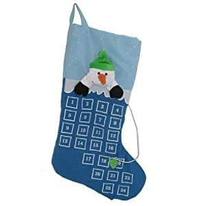 Snowman Advent Christmas Count Down Stocking