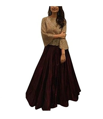 Kenil-Fabrics-Womens-Cream-and-Brown-Lehenga-choli