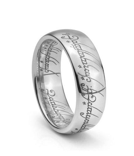7mm Tungsten Wedding Band 53 Fresh Plain Elvish Script Tungsten