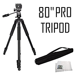 Professional 80-Inch Built in Bubble Leveling, 3-way Panhead with Tilt Motion, Angled Legs, Heavy Duty Tripod Extend to 80\