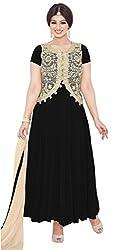 Blissta Black Georgette Embroidered Anarkali Dress Material