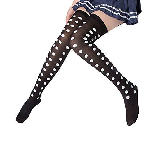 Bronze Times Solid Color Nylon Polka Dots Printing Thigh-High Socks Black