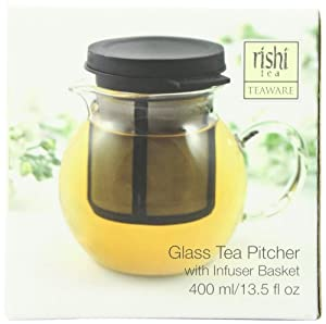 Rishi Tea Glass Pitcher (13.5-Ounces) with Infuser Basket