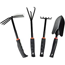 JustNile 4-Piece Black Cast Iron Gardening Hand Tool Set