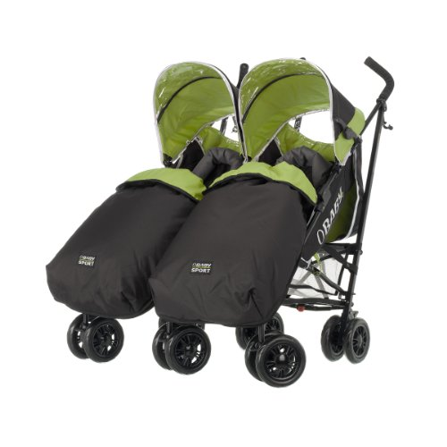 Obaby Apollo Twin Pushchair with 2 Footmuffs (Sport Green)