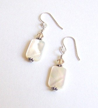 Fresh Water Pearl and Swarovski Sterling Silver Earrings