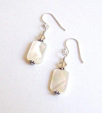 Fresh Water Pearl and Swarovski Sterling Silver Earrings