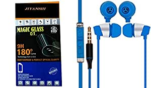JIYANSHI Samsung Galaxy Note Compatible Combo of Screen Guard/Screen Protector & Earphone With Super Sound (Blue)