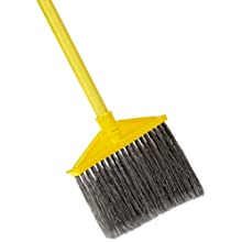 "Rubbermaid Commercial Angled Large Broom, Polyethylene Bristles, 46-7/8"" Metal Handle, Yellow/Gray (6375-00GY)"