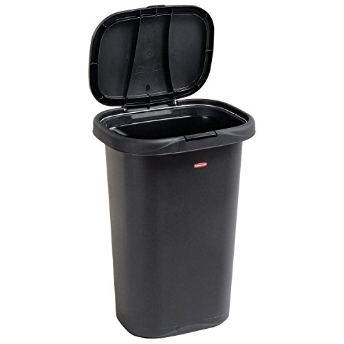 Rubbermaid FG5L5806BLA Spring-Top Wastebasket, 13-Gallon, Black (Tall Rubbermaid Lid compare prices)
