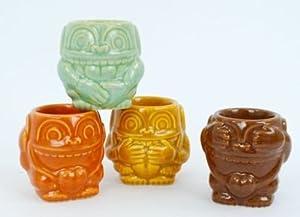 Tropical Tiki Hear No Evil Speak No Evil See No Evil Monkey Shot Glass Set of 4