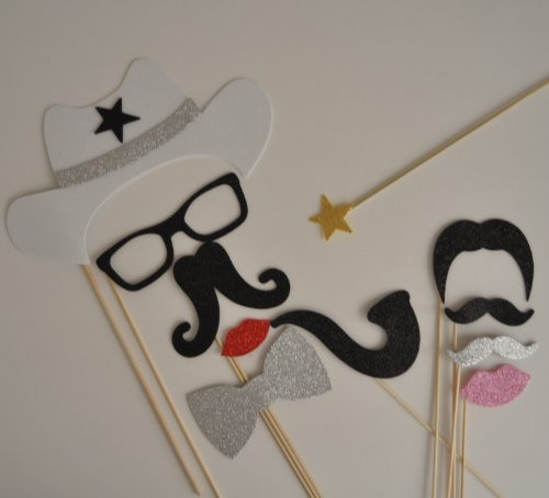 Cowboy Western Photo Booth Party Props Mustache on a Stick Texan Style western