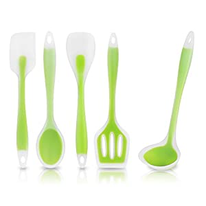 KitchCo 5-Piece Heat-Resistant Cooking Utensil Set - Designed w/Premium Non-Stick Silicone for Superior Durability Hygiene & Comfort of Use