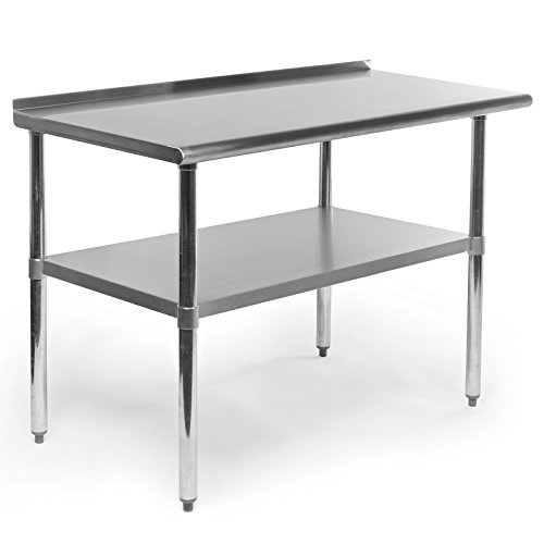 Gridmann Stainless Steel Commercial Kitchen Prep & Work Table with Backsplash, 48 x 24 Inches (Island Tables compare prices)