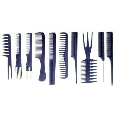 fitTek Set 10 Peigne Plastique Noir Antistatique pour Salon Coiffure Barbier Cheveux