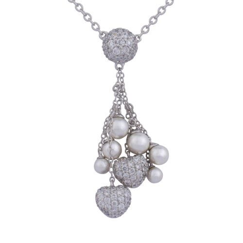 Rhodium Plated Sterling Silver White Shell Pearl and Cubic Zirconia Heart and Bead Shaped Necklace, 18