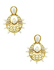 The Art Jewellery Rajwadi Ethnic Emerald Pearl Drop Earrings For Women