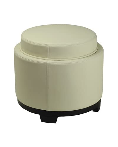 Safavieh Round Storage Tray Ottoman, Off White