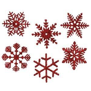 Vickerman 25482 – 5″ Red Glitter Assorted Snowflake Christmas Tree Ornament (6 pack) (M117303)
