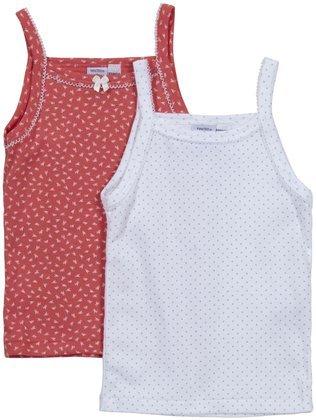 Petit Bateau Big Girls' S/L Shirt (Baby) - White/Coral - 8 Years