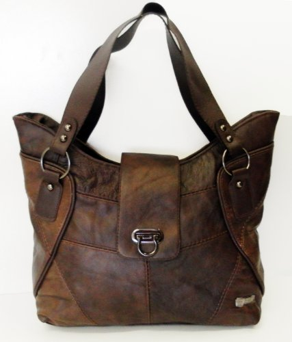 Womens Ladies Leather Work Shoulder Handbag (Black/Brown) (Brown)
