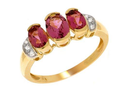 9CT YELLOW GOLD PINK TOURMALINE AND DIAMOND LADIES RING
