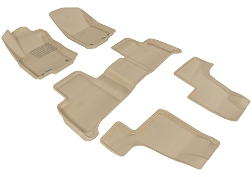 3D MAXpider Cargo Custom Fit All-Weather Floor Mat for Select Hyundai Santa Fe Sport Models Tan Kagu Rubber