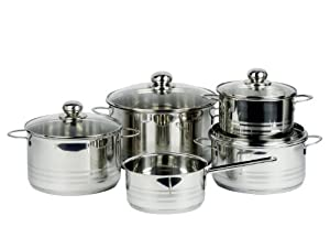 My Basics Germany 5 piece Pot Cookware Set Surgical Grade 18/10 Stainless Steel Glass Covers Heat Induction
