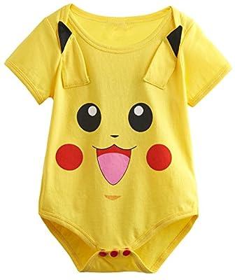 Yoyoworld Baby Girls' Pikachu Cute Onesie Funny Bodysuit Short Sleeves