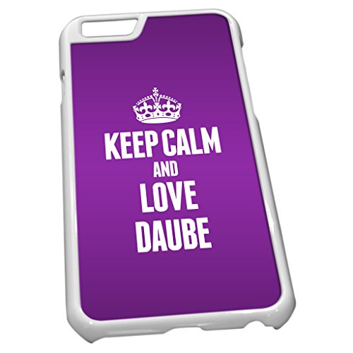 Blanc Coque pour iPhone 6 1040 Violet Keep Calm and Love Daube provençale