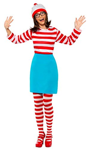 Smiffy's Where's Wally Wenda Costume Includes Top, Skirt, Glasses, Tights and Hat - Sizes fro XS to XL
