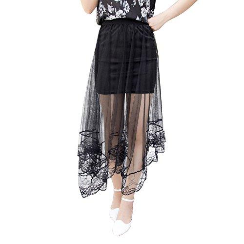 Fedi Apparel Stylish Women Gauze Mesh Tulle Lace Floral Gothic Long Maxi Skirt Dress (Sexy Long Skirts)
