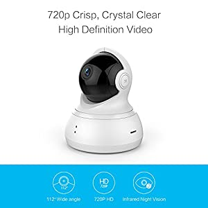 YI Dome Camera Pan/Tilt/Zoom Wireless IP Security Surveillance System 720p HD Night Vision (US Edition) by YI