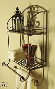 glamorous wrought iron kitchen wall shelves | Amazon.com - Tuscan Wrought Iron 2 Tier Wall Shelf with ...