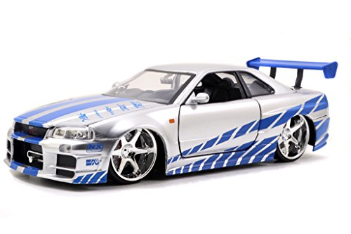 Fast & Furious - Brian's Nissan Skyline GT-R (R34) 1:24 Scale (Silver) (Collectible Model Cars compare prices)