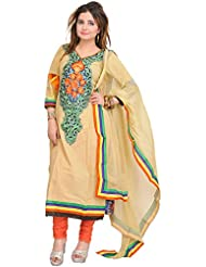 Exotic India Chino-Green And Coral Choodidaar Kameez Suit With Embroider - Green