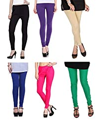 Shiva collections B/PUR/S/RB/P/G cotton legging ( SET OF 6)